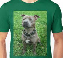Blue Staffordshire Bull Terrier, Tasty Treat Time Unisex T-Shirt
