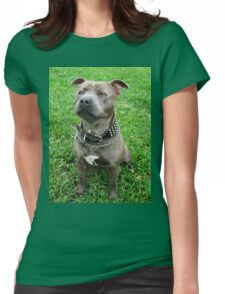 Blue Staffordshire Bull Terrier, Tasty Treat Time Womens Fitted T-Shirt