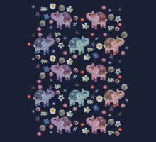 Elephants and Flowers on Black Kids Tee
