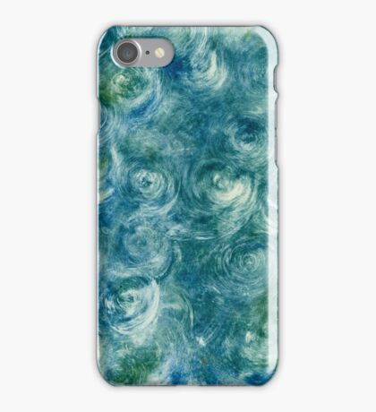 Green and Blue Monoprint Swirl Abstract iPhone Case/Skin