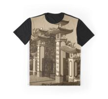 Buddhist Temple Entrance in Sepia  Graphic T-Shirt