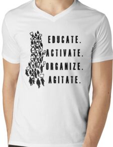 Educate. Activate. Organize. Agitate. - Activist Protesters Marching Mens V-Neck T-Shirt