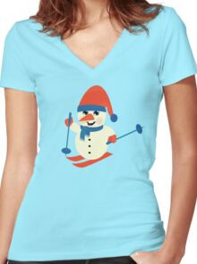 Skiing Snowman  Women's Fitted V-Neck T-Shirt