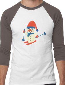 Skiing Snowman  Men's Baseball ¾ T-Shirt