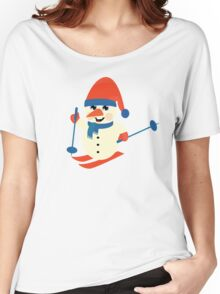 Skiing Snowman  Women's Relaxed Fit T-Shirt