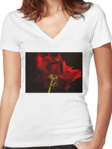Backside of the rose Women's Fitted V-Neck T-Shirt
