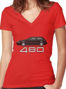 Volvo 480 (black) Women's Fitted V-Neck T-Shirt