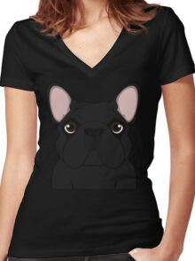 Frenchie - Black Brindle  Women's Fitted V-Neck T-Shirt