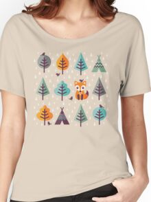 Fox in the Forest - on Gray Women's Relaxed Fit T-Shirt