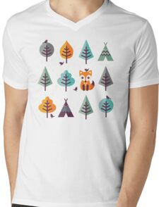 Fox in the Forest - on Gray Mens V-Neck T-Shirt