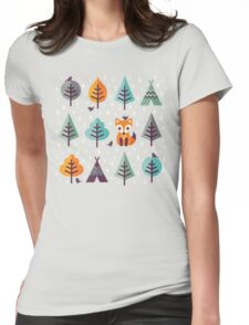 Fox in the Forest - on Gray Womens Fitted T-Shirt