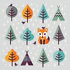Fox in the Forest - on Gray by daisy-beatrice
