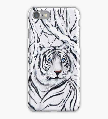 White Tiger Blending In iPhone Case/Skin