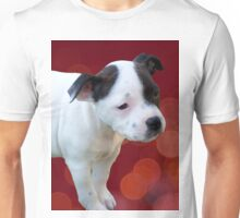 Staffordshire Bull Terrier, Black And White Puppy. Unisex T-Shirt