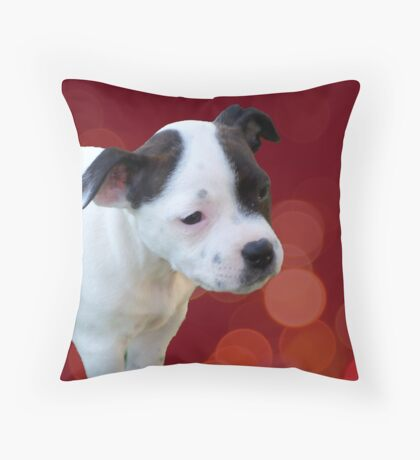 Staffordshire Bull Terrier, Black And White Puppy. Throw Pillow