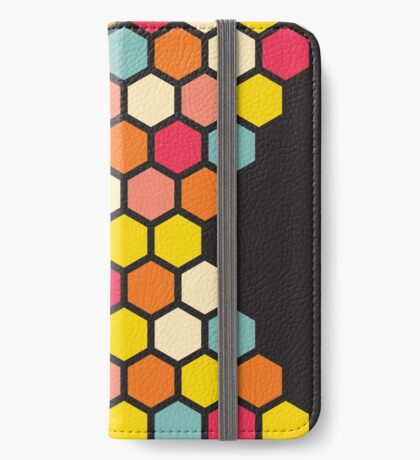 Colorful Hexagons on Black iPhone Wallet