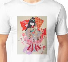 Beautiful Japanese paper doll made with origami paper. Unisex T-Shirt