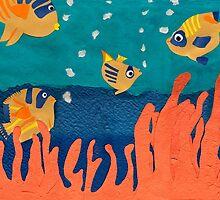 Fish- cut paper by susanbkatz