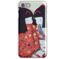 Cute Japanese paper dolls hand made from origami paper iPhone Case/Skin