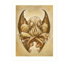 Cthulhu Dreaming, in Cyclopean sepia Art Print