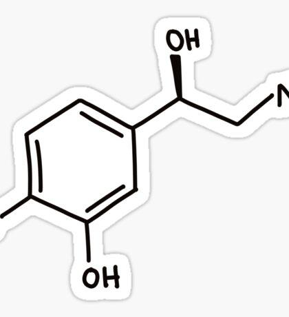 Norepinephrine (noradrenaline) molecule, hand drawn molecular structure Sticker
