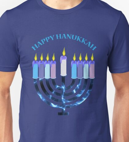 Happy Hanukkah Menorah Unisex T-Shirt