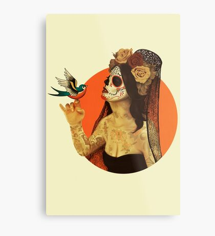 Calavera Princess Metal Print
