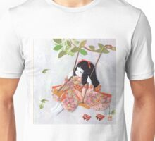Beautiful Japanese doll on a swing Unisex T-Shirt