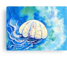 Jellyfish flowing in the sea Canvas Print