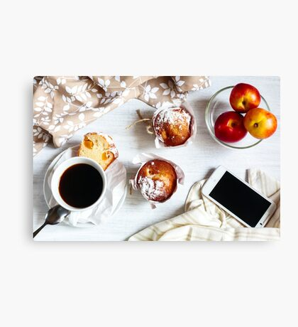 Breakfast muffins and coffee Canvas Print