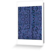 Purple-Blue and Black Abstract Monoprint Greeting Card