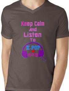 ♫Keep Calm & Listen to K-Pop♪ Mens V-Neck T-Shirt