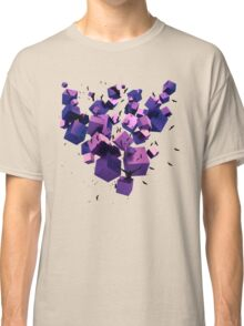 Birds Flying among 3D Floating Cubes  Classic T-Shirt