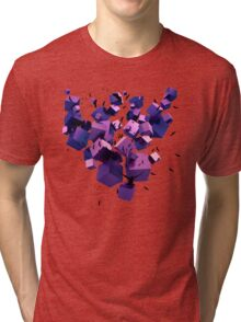 Birds Flying among 3D Floating Cubes  Tri-blend T-Shirt