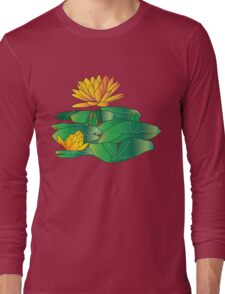 Golden Water Lilly with leaves. Tee, T shirts, Apparel and Stickers Long Sleeve T-Shirt
