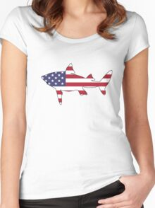 American Flag – Shark Women's Fitted Scoop T-Shirt