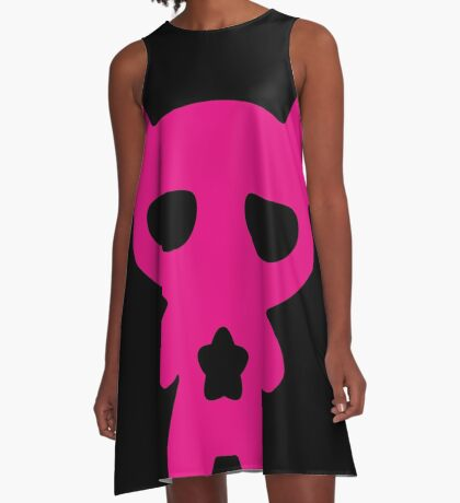 Magenta Lazy Bear (Cute and Pink) A-Line Dress