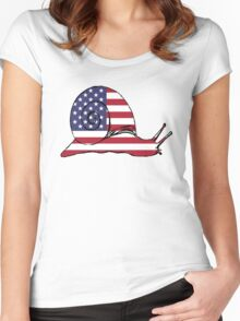 American Flag – Snail Women's Fitted Scoop T-Shirt