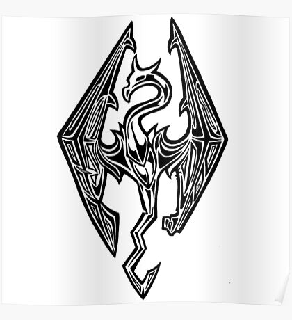 Skyrim Logo Dovah Dragon Poster