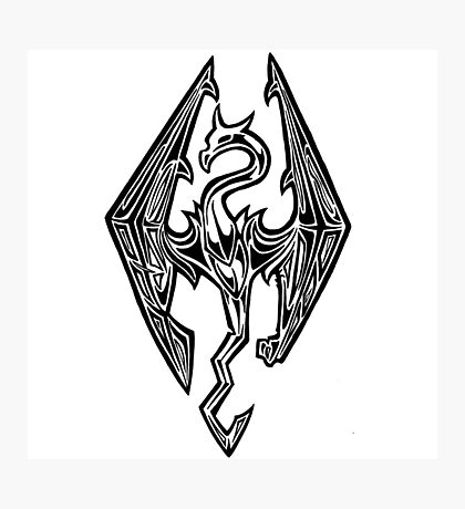 Skyrim Logo Dovah Dragon Photographic Print