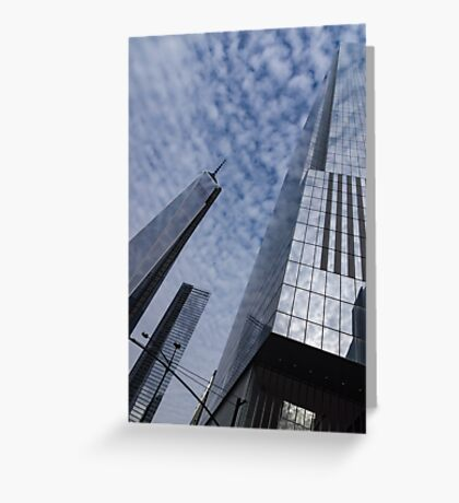 Soft and Hard - Manhattan Skyscrapers and Cloud Puffs Greeting Card