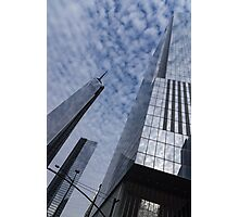 Soft and Hard - Manhattan Skyscrapers and Cloud Puffs Photographic Print