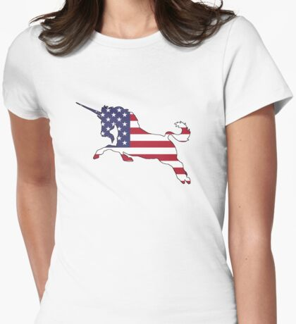 American Flag – Unicorn Womens Fitted T-Shirt