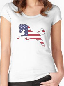 American Flag – Horse Women's Fitted Scoop T-Shirt