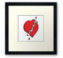 cartoon broken heart symbol Framed Print