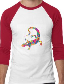 Bright colorful picture with the mosaic lizard isolated  Men's Baseball ¾ T-Shirt