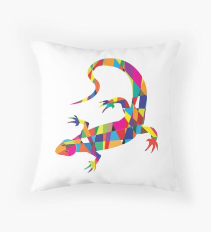 Bright colorful picture with the mosaic lizard isolated  Throw Pillow