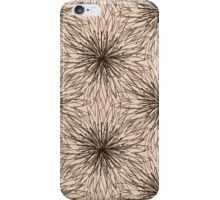 Brown Contour Flower Pattern on Beige Background iPhone Case/Skin
