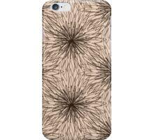 Brown Contour Flower Pattern on Beige Background iPhone Case/Skin