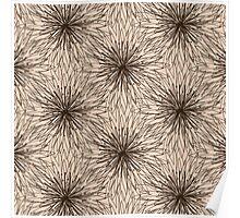 Brown Contour Flower Pattern on Beige Background Poster
